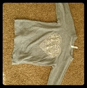 SUPER WARM AND COZY LACE HEART GREY SWEATER!!